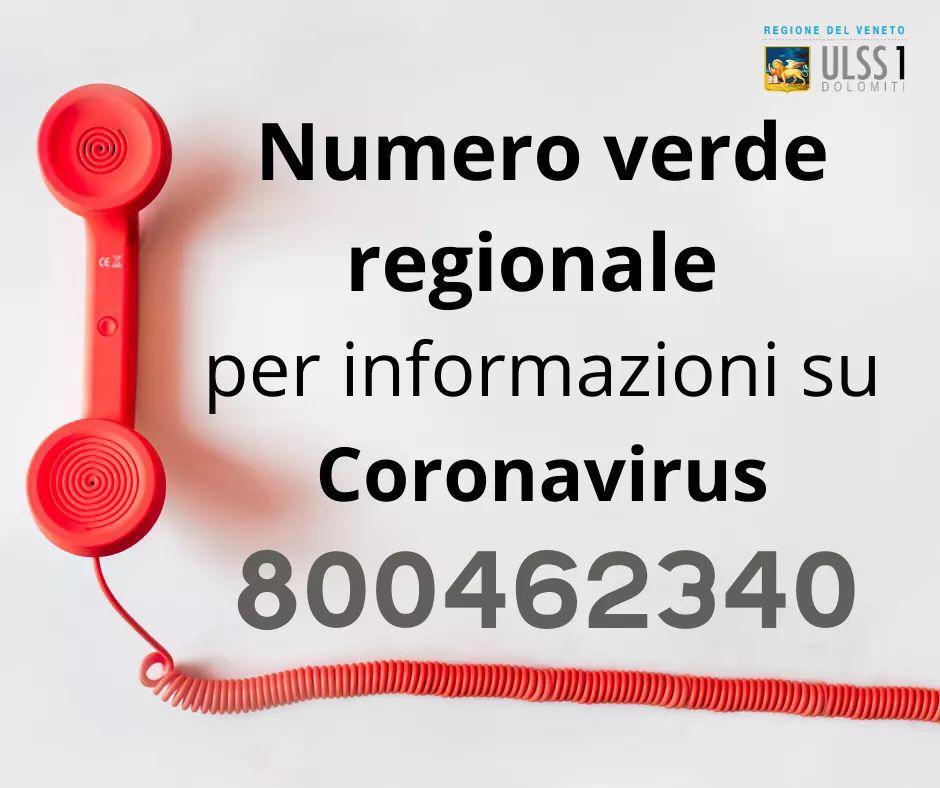 Numero verde regionale per informazioni sul corona virus